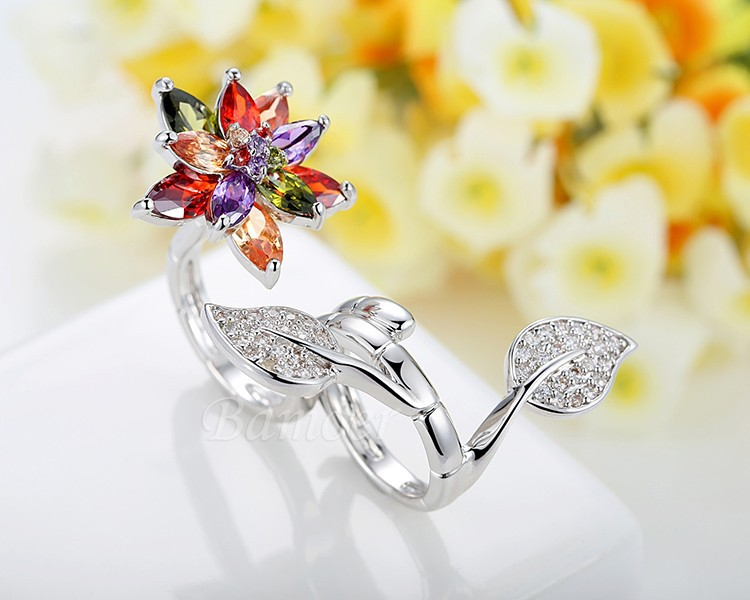 Bague 2 doigts fleur cristal boho boheme chic ring0431