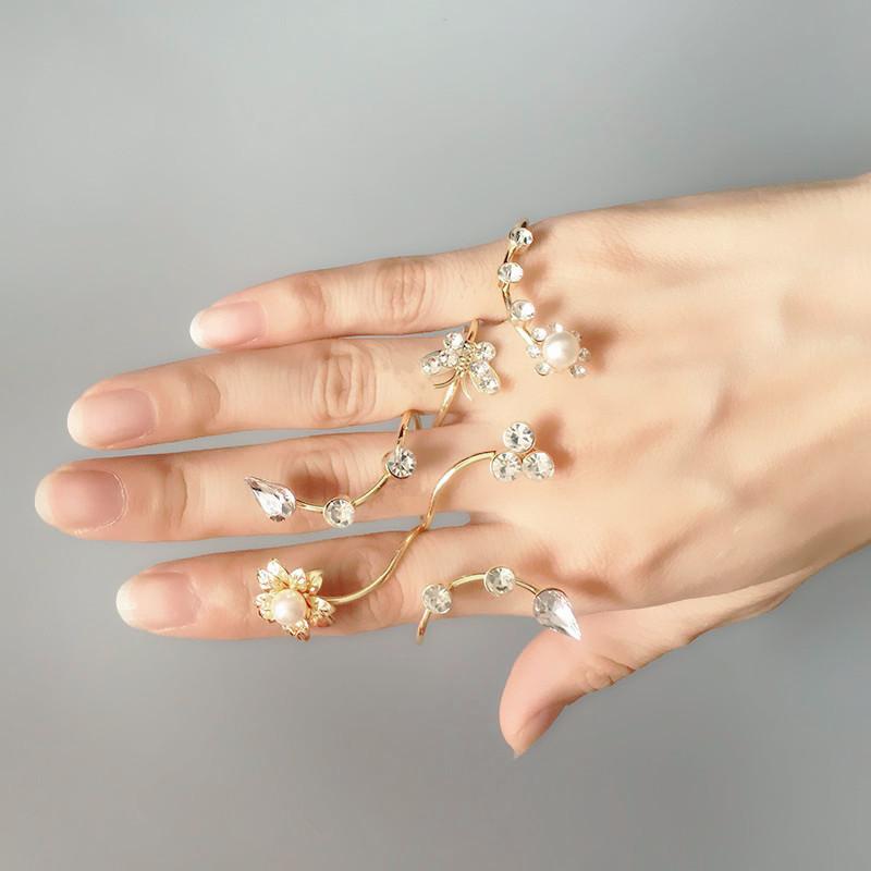 Bague 4 doigts longue fleur boho boheme chic ring0416