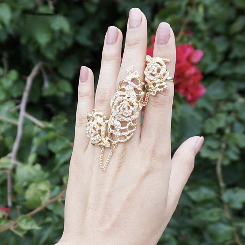 Bague 2 doigts articulée strass dorée boho boheme chic ring0432