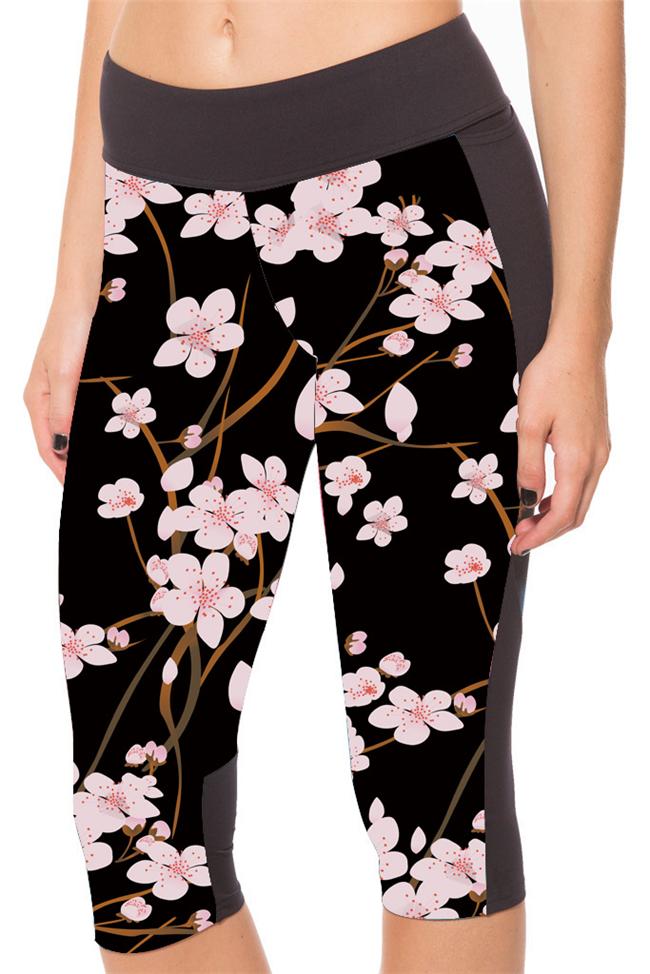 Legging 3/4 fleuri yoga boho boheme chic legg0151