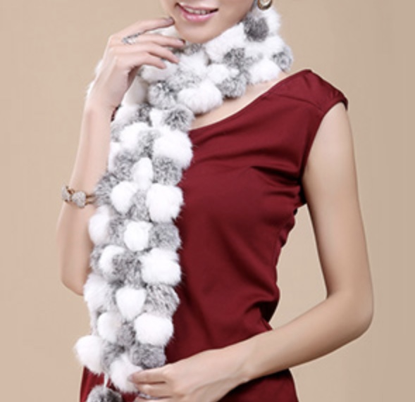 Echarpe fourrure lapin 2 tons boho boheme chic scarf0289