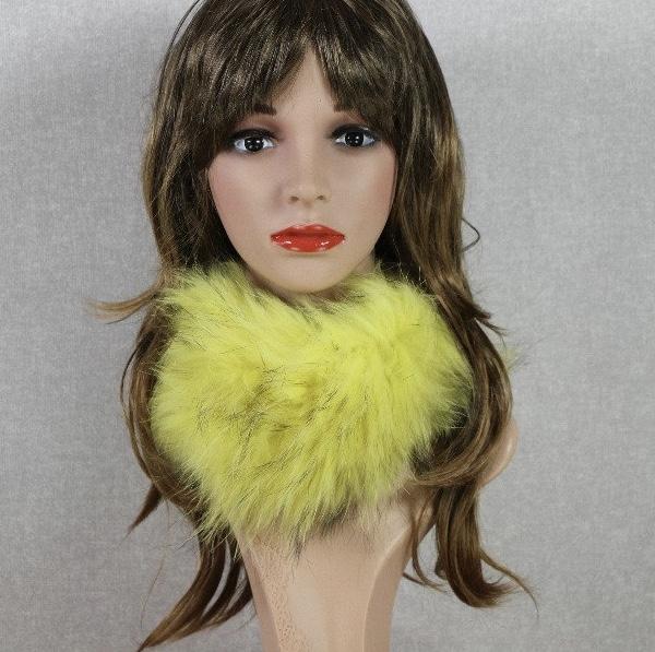 Col fourrure jaune boho boheme chic SCARF0190