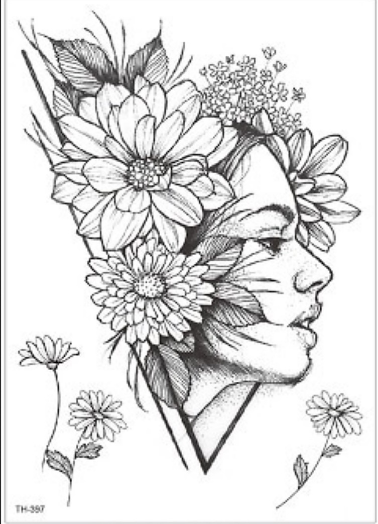 Tatouage temporaire fleurs visage Tattoomiddle0096