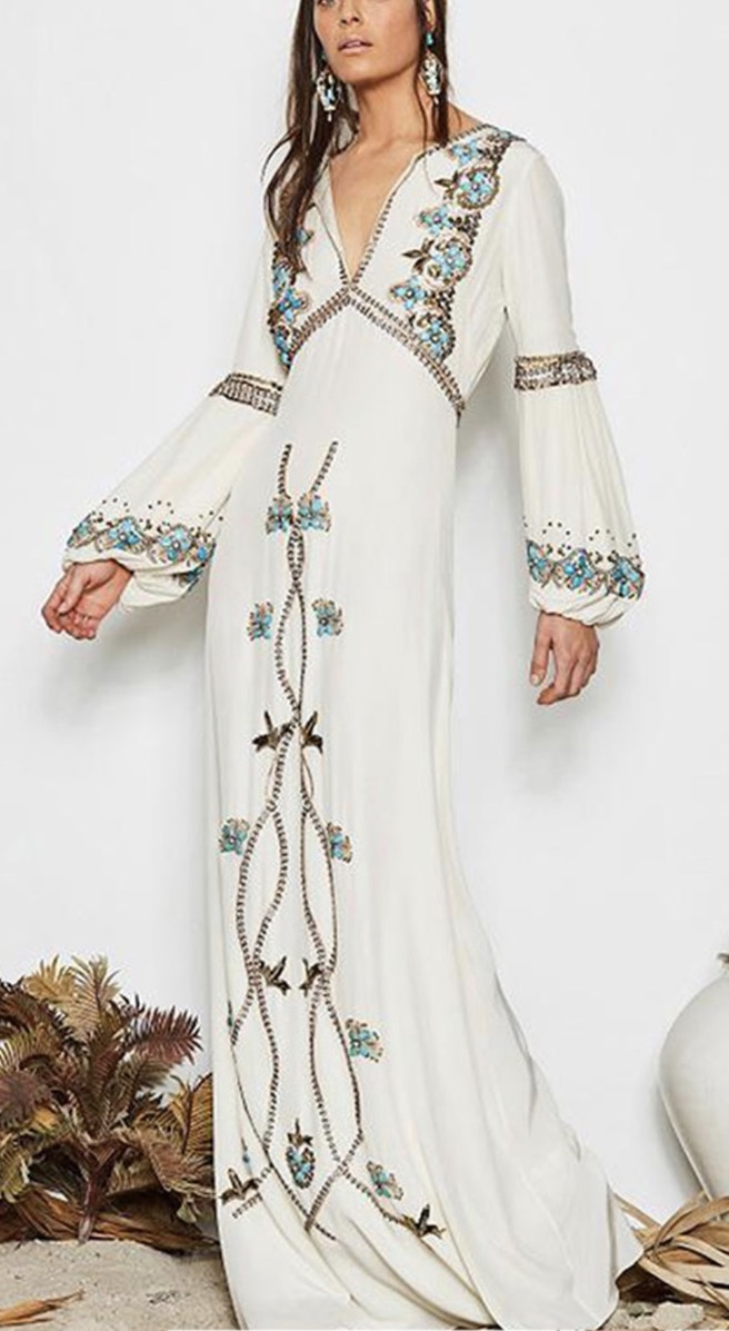 Robe brodée longue mariage cérémonie boho boheme chic DRESSL1617