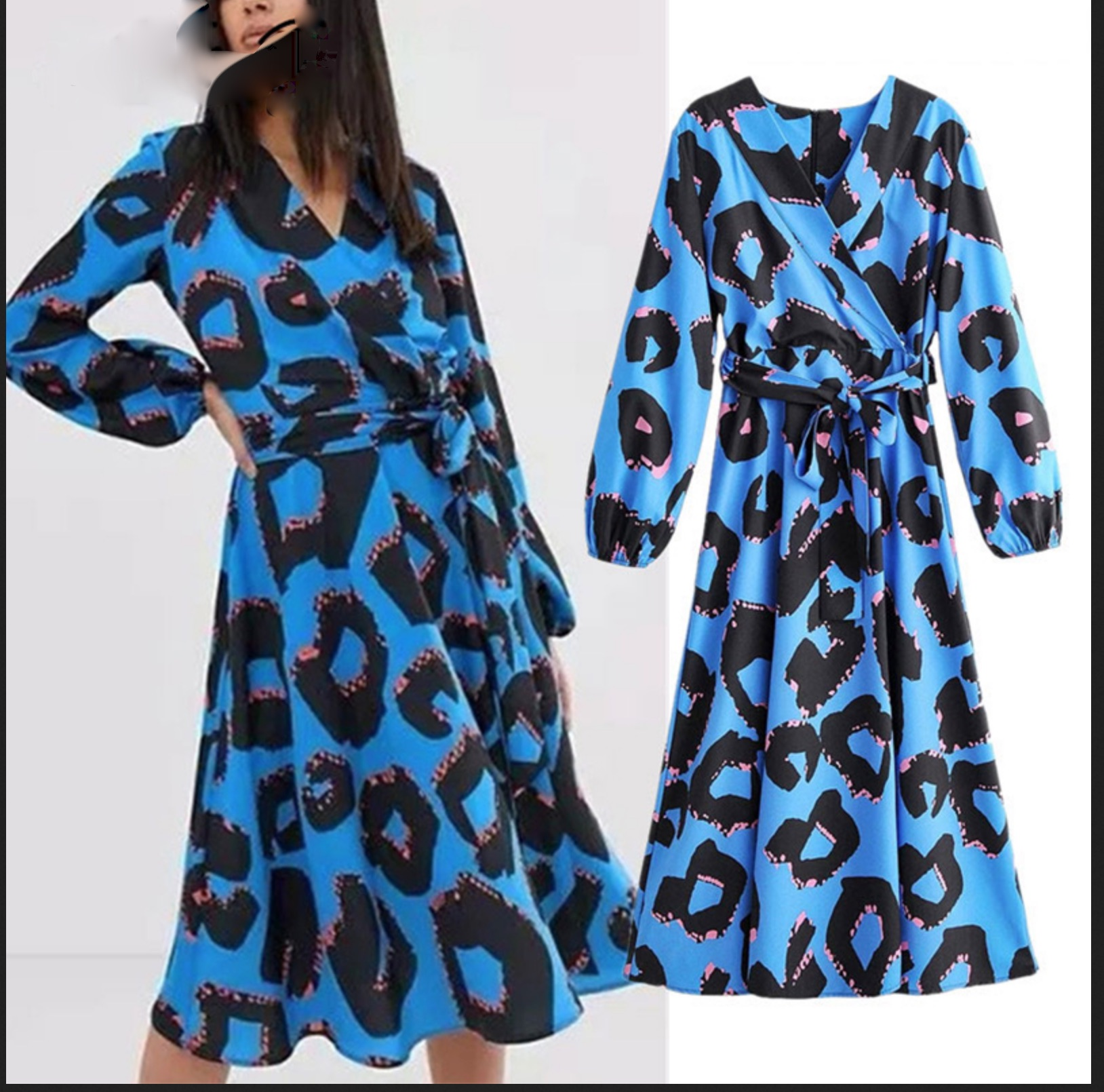 Robe fond bleu léopard boho boheme chic DRESSL1773