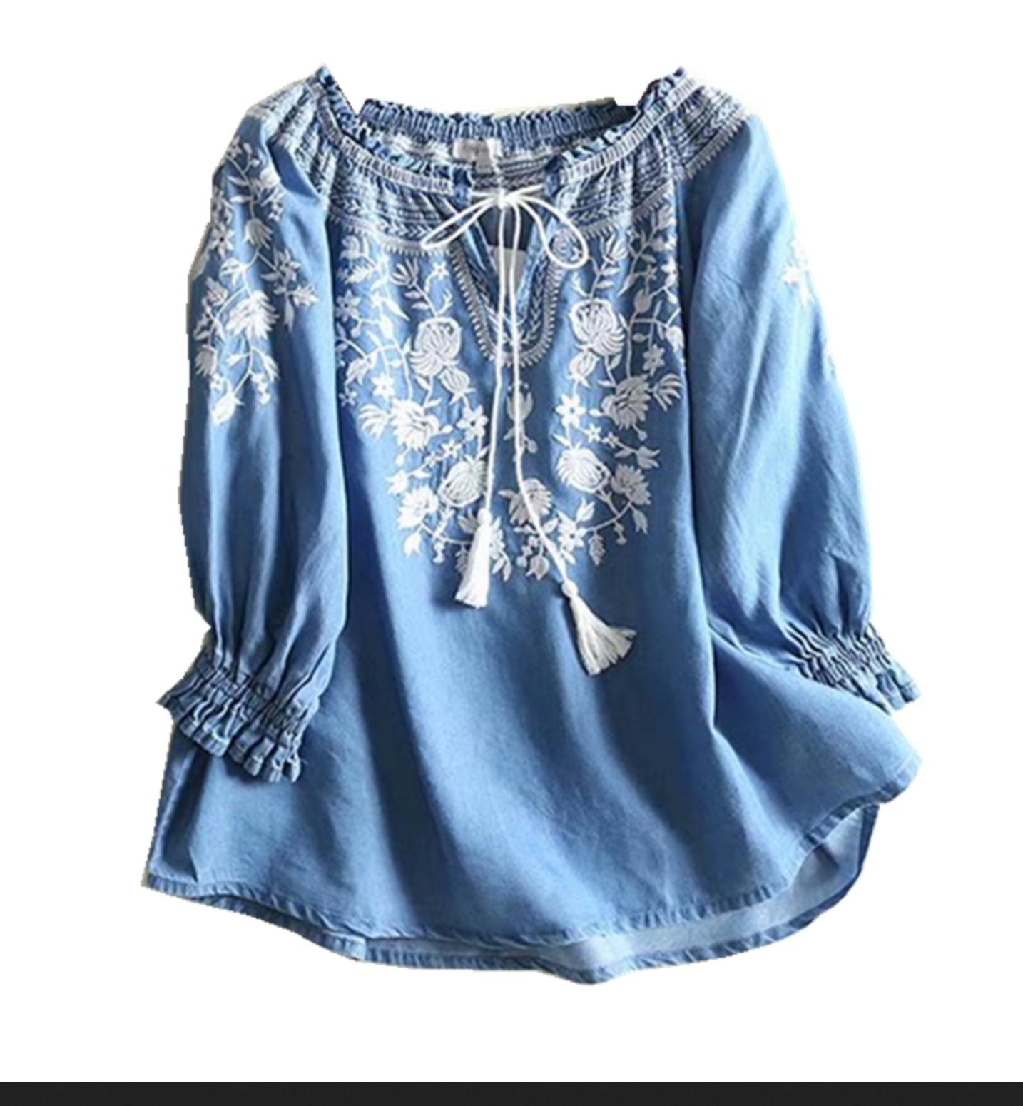 Blouse tencel brodée boho boheme chic blouse0142