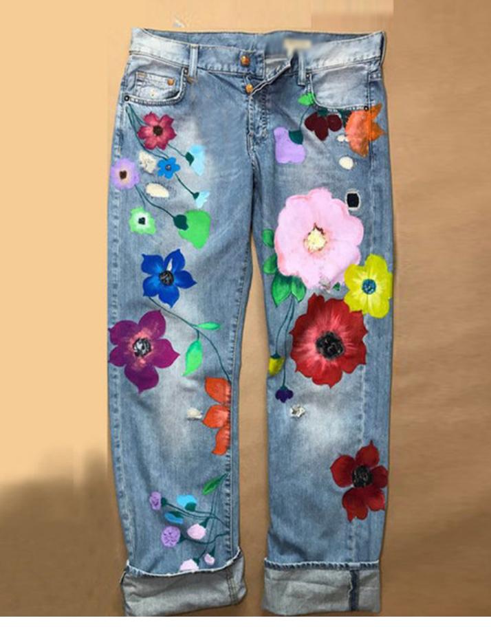 Jean grosses fleurs hippie boho boheme chic PANTS0260