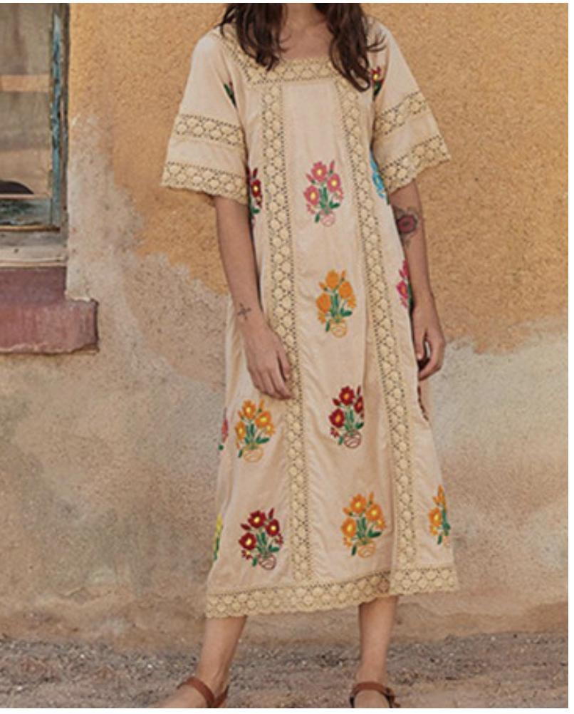 Robe coton beige brodé hippie boho boheme chic DRESSL1774