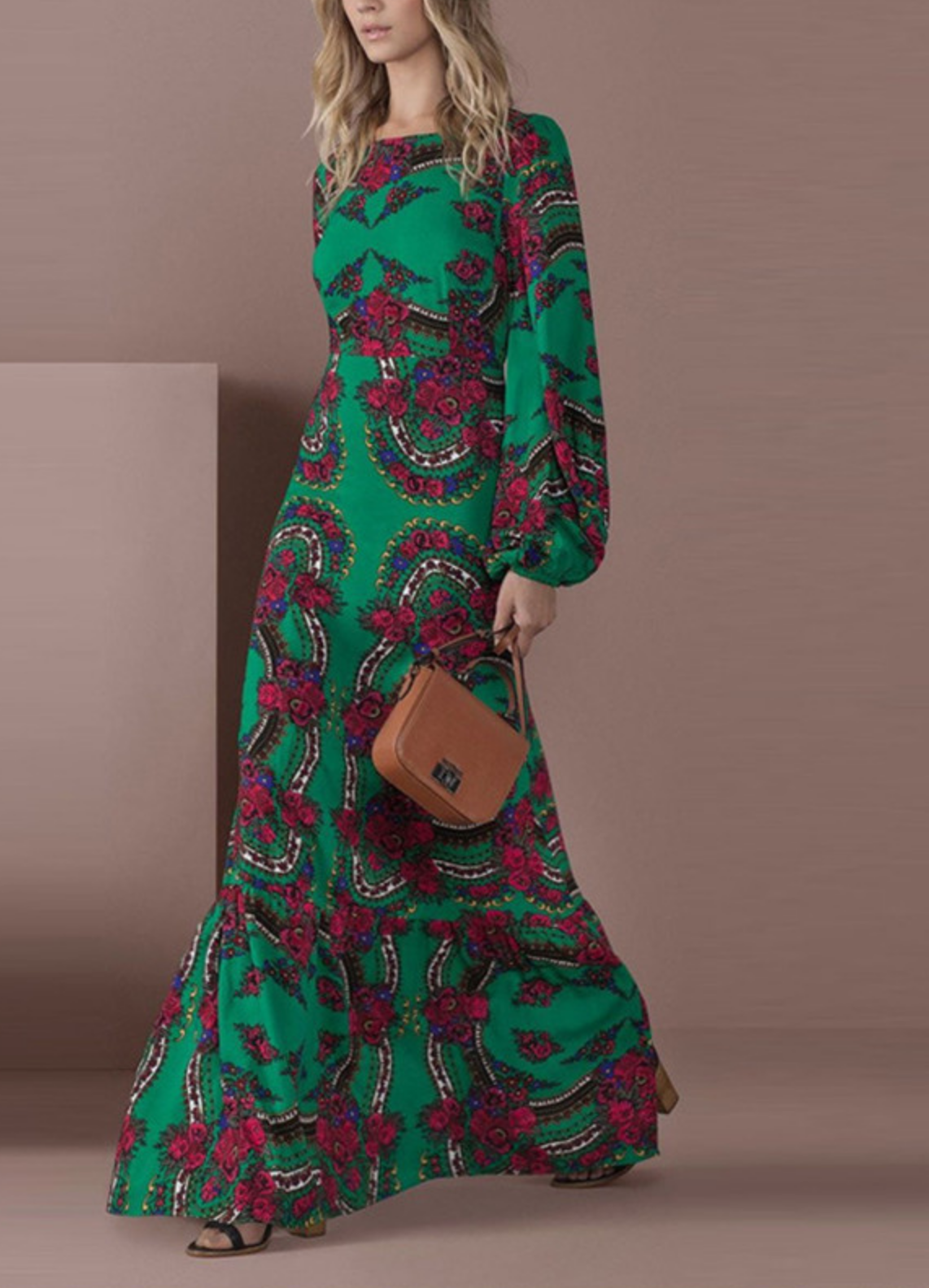 Robe longue fond vert imprimée boho boheme chic DRESSL1776