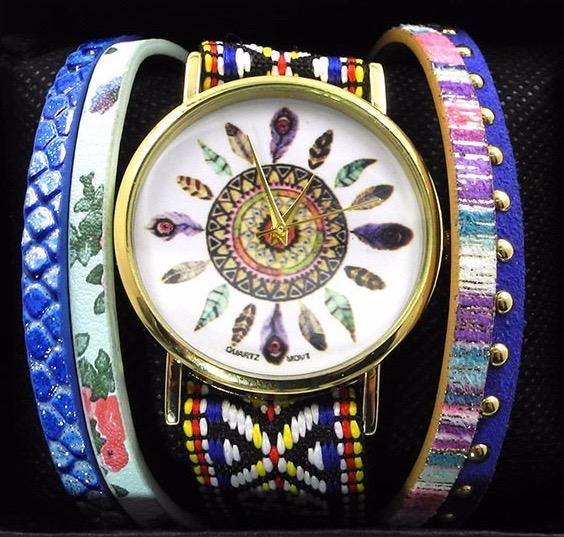 Montre bracelet brésilien attrape rêves boho boheme chic watch0409