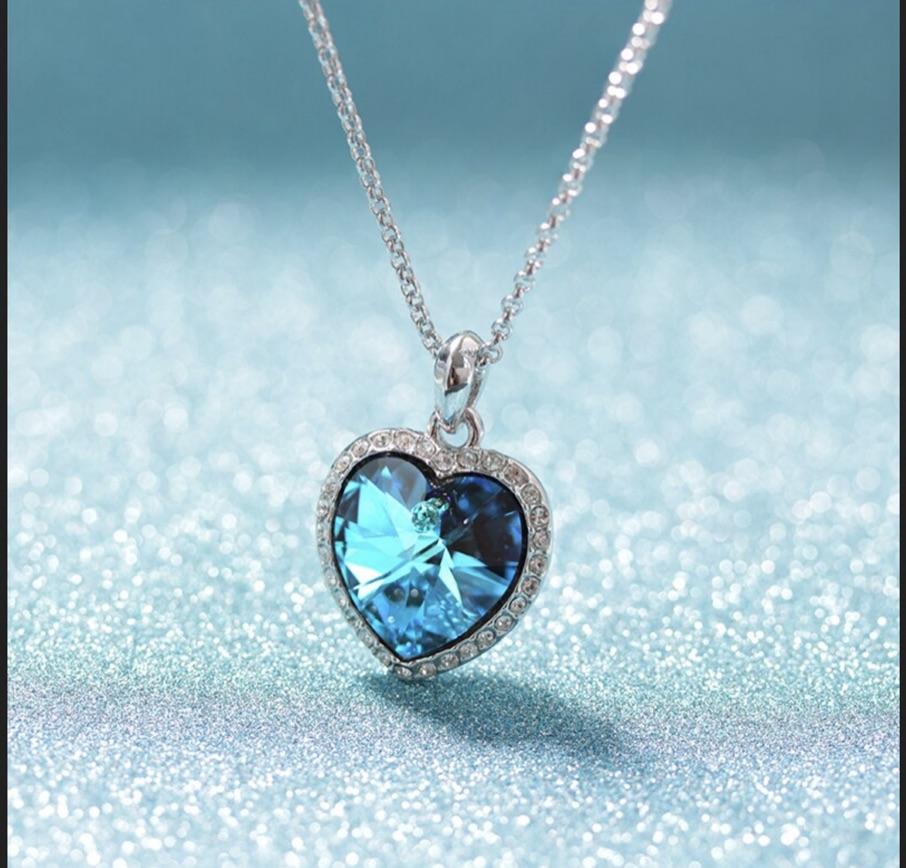 Collier coeur cristal bleu océan boho boheme chic NECK0245