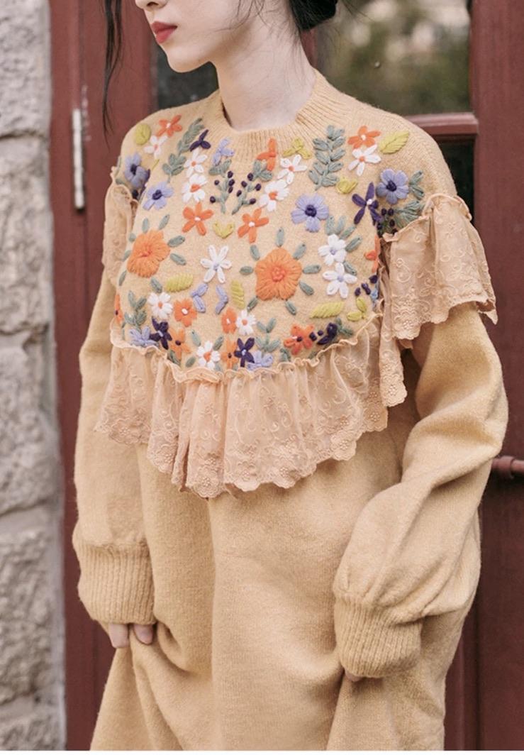 Robe pull brodée fleurs dentelle boho boheme chic DRESSL1789