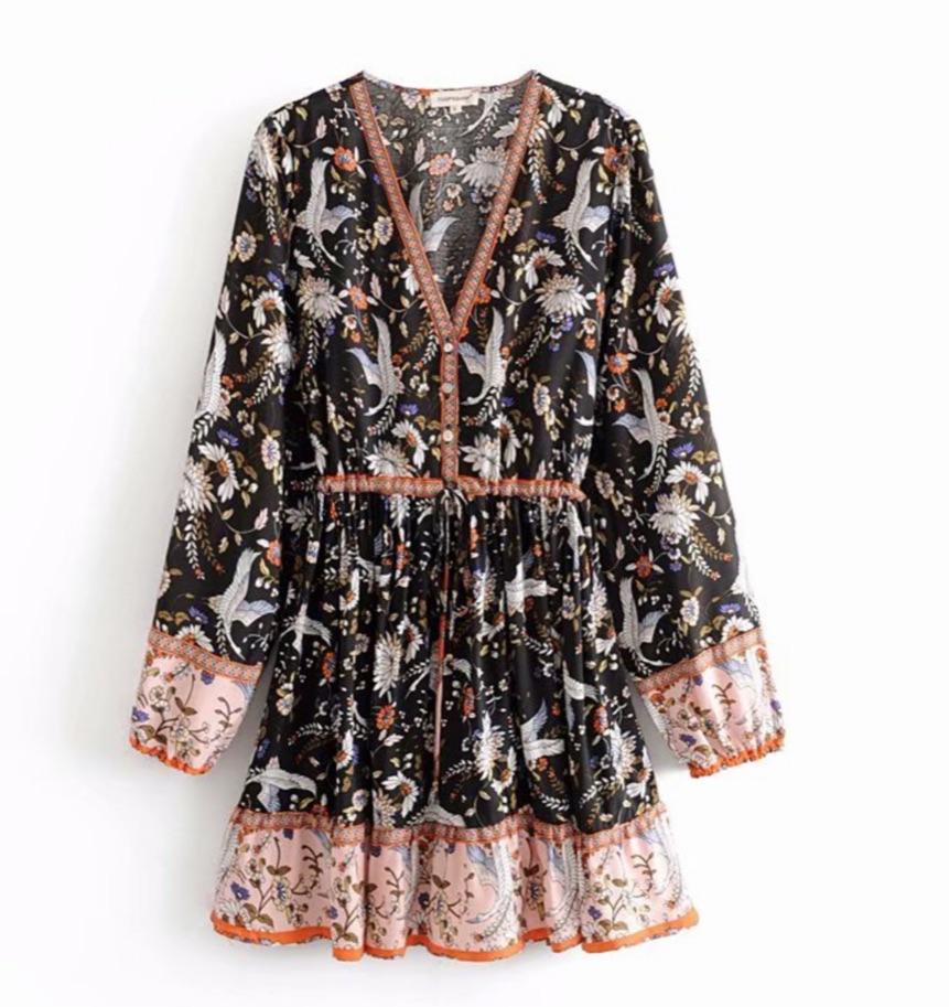 Robe courte imprimé fleuri boho boheme chic DRESS1795