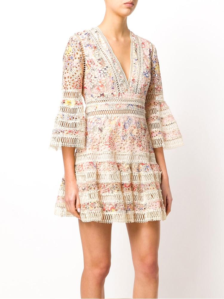 Robe courte fleurs haute qualité dentelle boho boheme chic DRESS1648