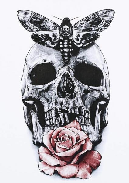 Tatouage temporaire tête de mort rose boho boheme chic TATTOO0380