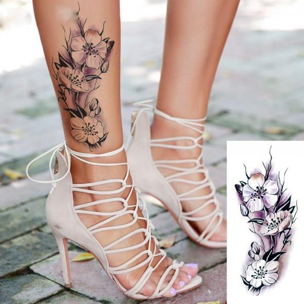 Tatouage temporaire dark roses flowers boho boheme chic TATTOO0388