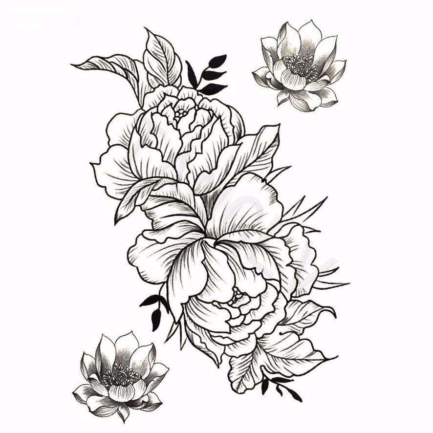 Tatouage temporaire flowers black boho boheme chic TATTOO0395