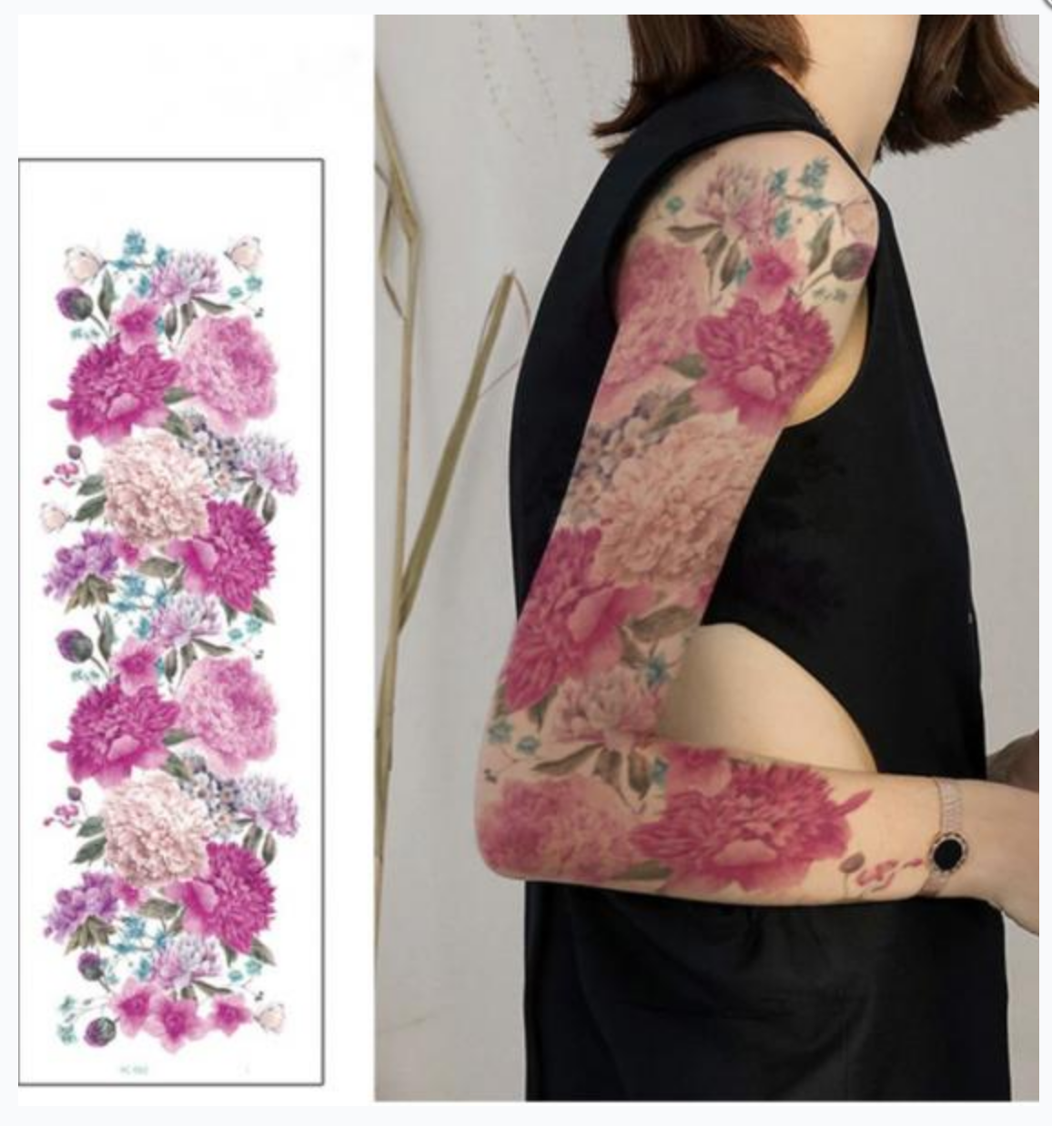 Tatouage temporaires hortensias sleeve boho boheme chic TATTOO0397