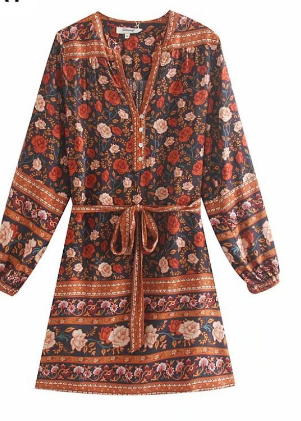 Robe courte imprimée hippie fleurs boho boheme chic DRESS1803