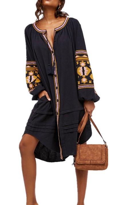 Robe chemise tunique brodée boho boheme chic DRESS1659