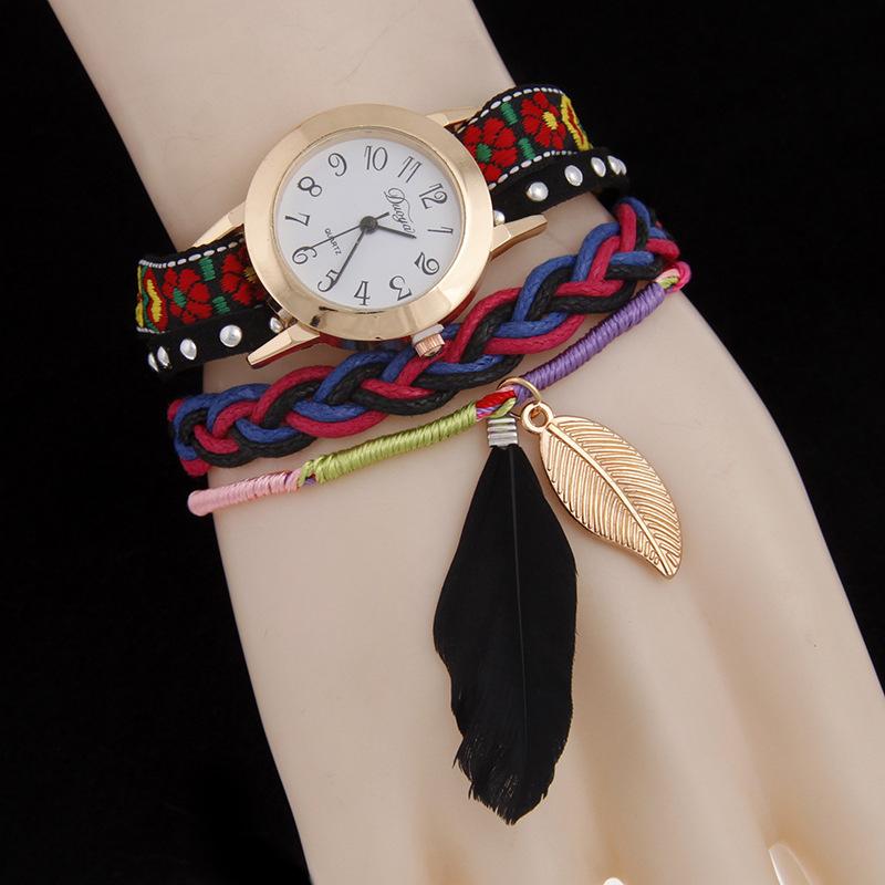Montre bracelet multi rangs brodé plumes boho boheme chic WATCH0495