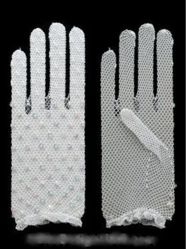 Gants résille blancs paillettes boho boheme chic GLOVES0331