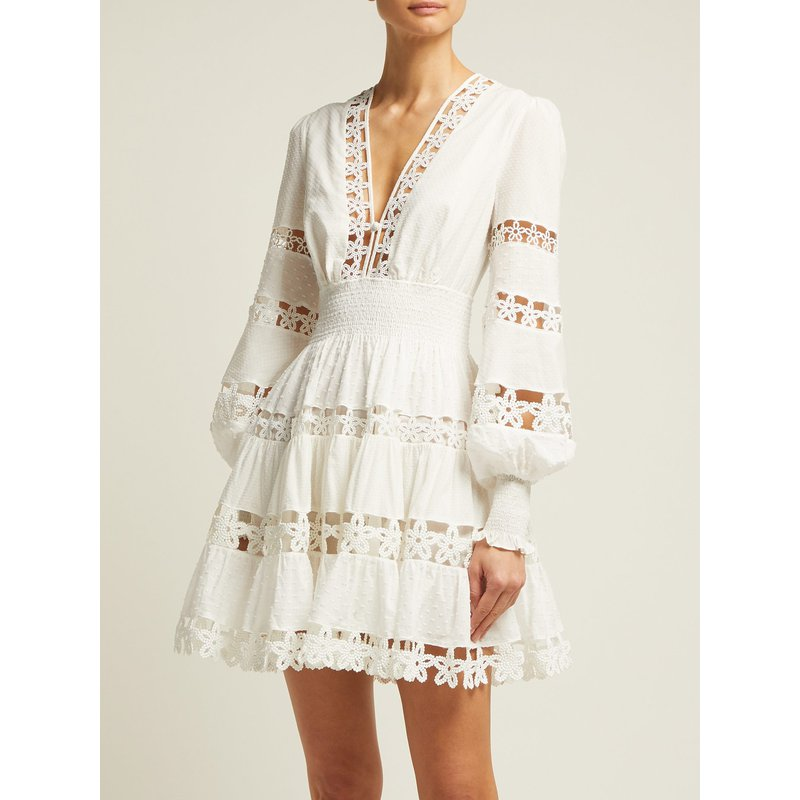 Robe courte haute qualité dentelle boho boheme chic DRESS1656