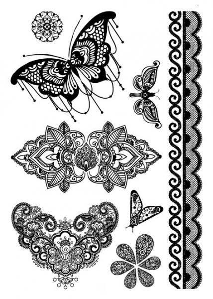 Tatouage temporaire - Butterfly black lace TATTOO0418