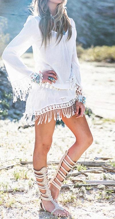 Robe tunique plage franges marque boho boheme chic DRESS1645