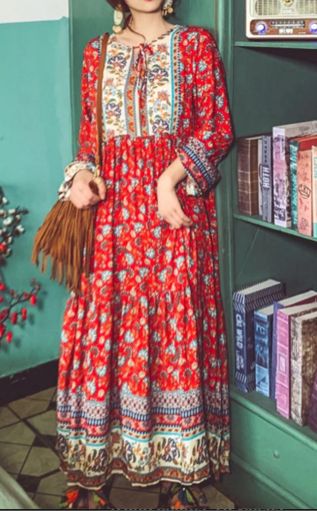 Robe mi longue fleurs hippie boho boheme chic DRESSL1813