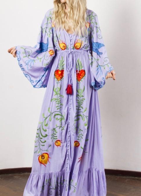 Robe longue ethnique brodée hippie boho boheme chic dressl1369