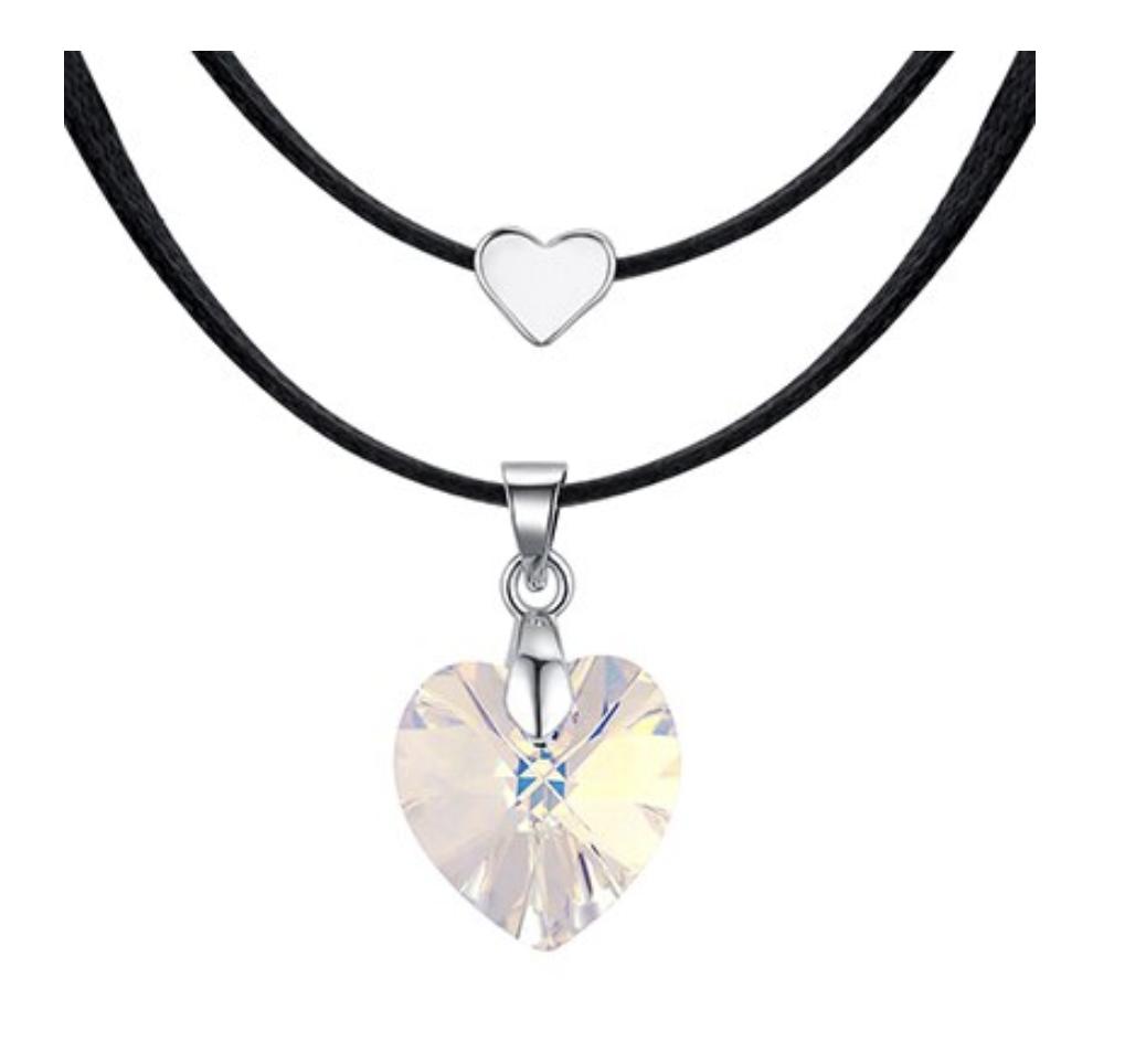 Collier cristal pur double coeurs boho boheme chic NECK0591