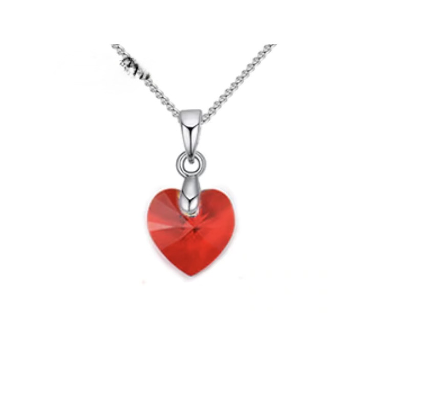 Collier coeur cristal rouge boho boheme chic neck0595