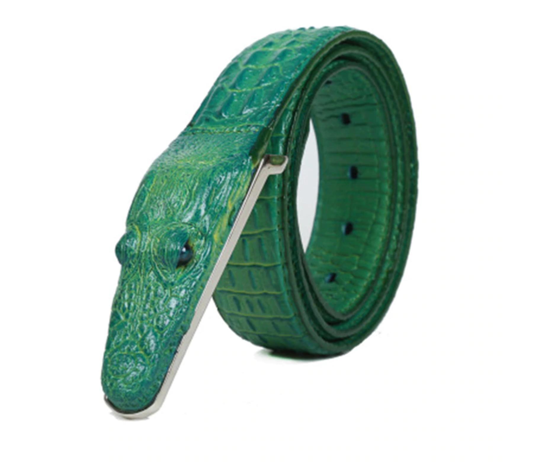 Ceinture cuir tête crocodile homme marque boho boheme chic BELT0077