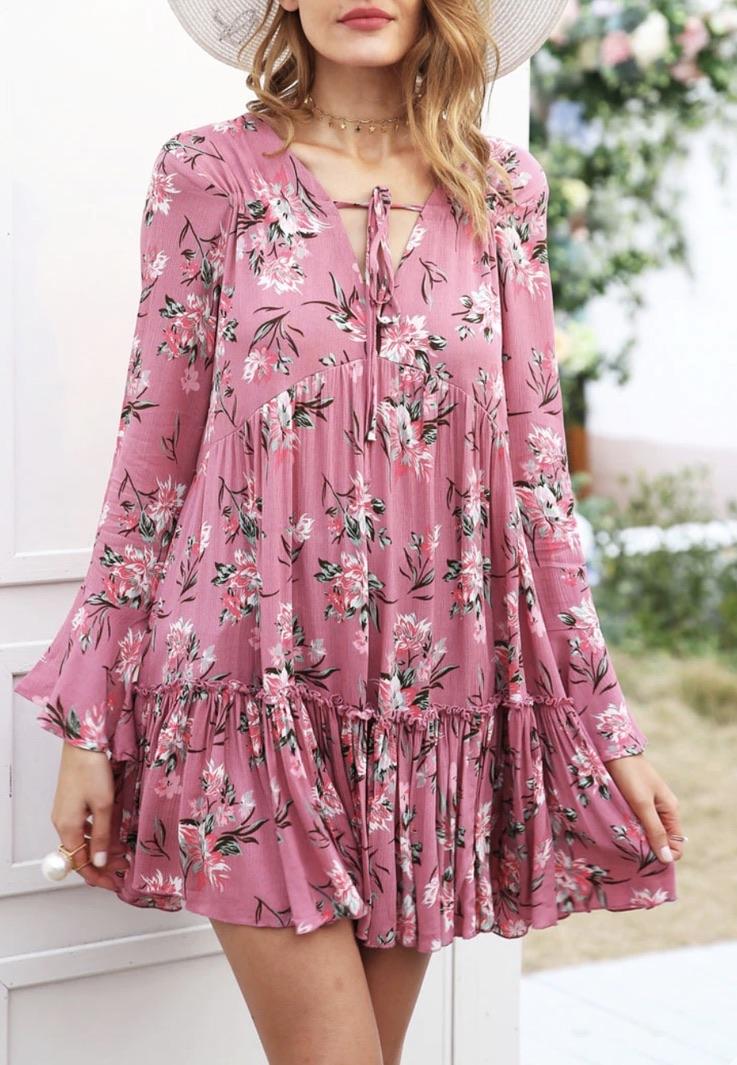 Robe imprimée fleurs boho boheme chic DRESS1623