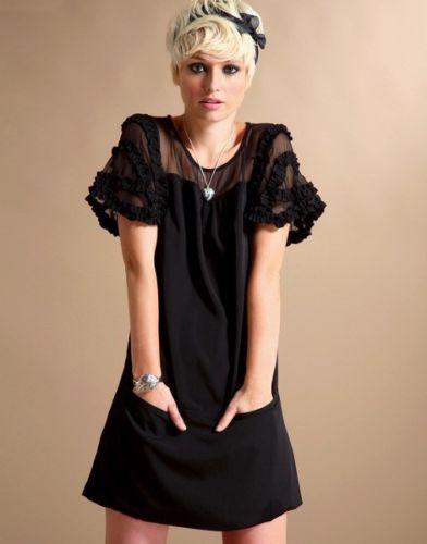 Robe courte noire manches voile célébrités boho boheme chic DRESS1607