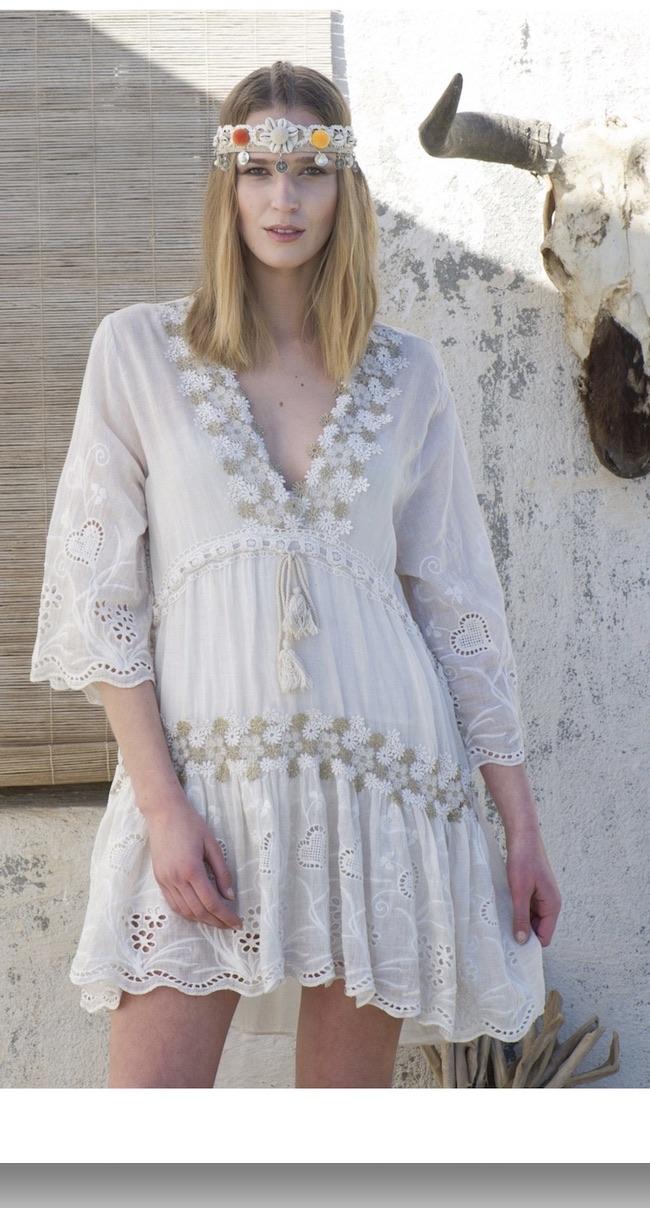 Robe coton broderies fleurs 100 % boho bohème chic DRESS1403