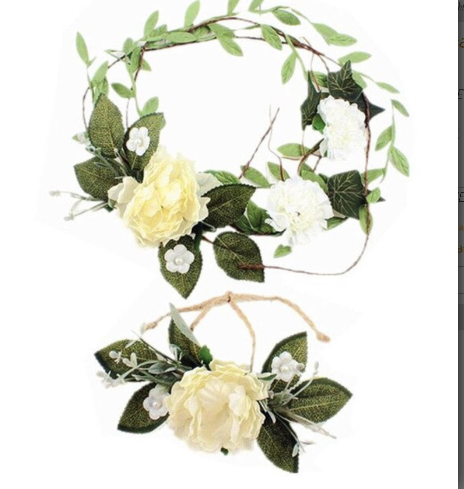 Couronne bandeau cheveux chanvre fleurs + bracelet boho boheme chic