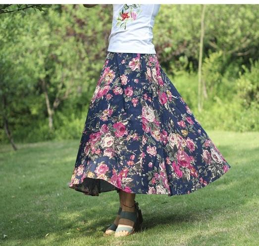 Jupe imprimée fleurs marque boho bohème chic skirt0240