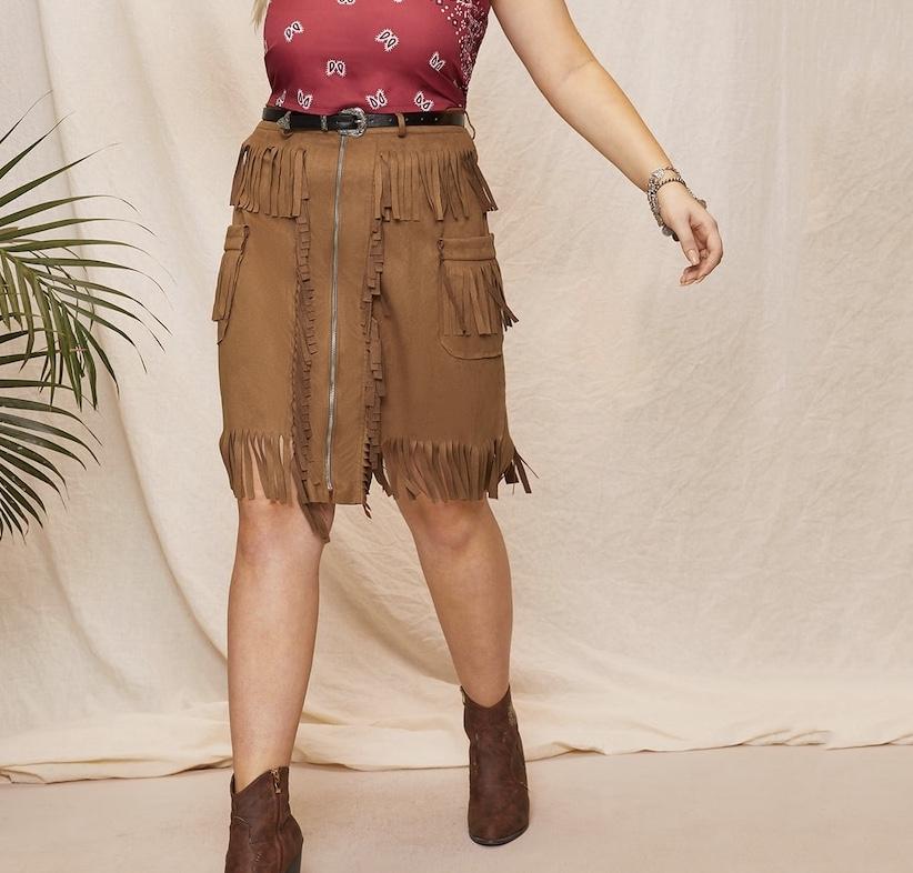 Jupe aspect daim zip franges marque boho bohème chic skirt0237