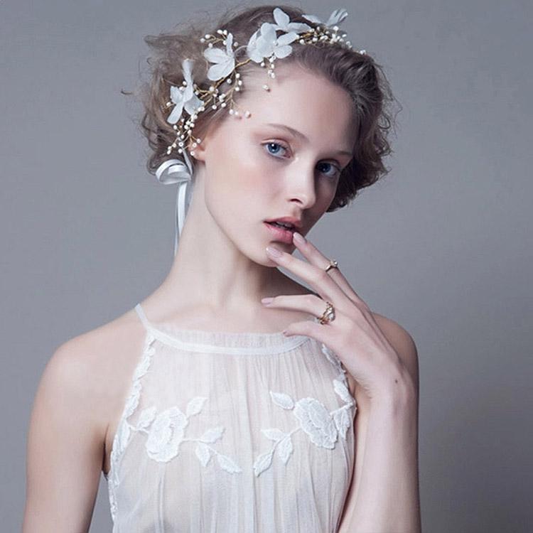 Bandeau cheveux fleurs blanches boho boheme chic hair0239