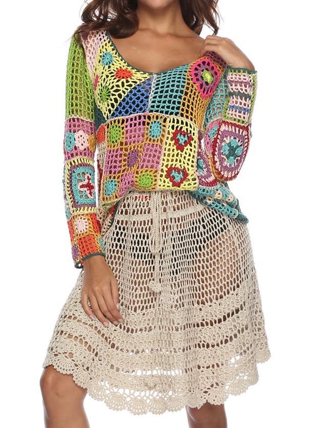 Jupe crochet ou top boho bohème chic SKIRT0222