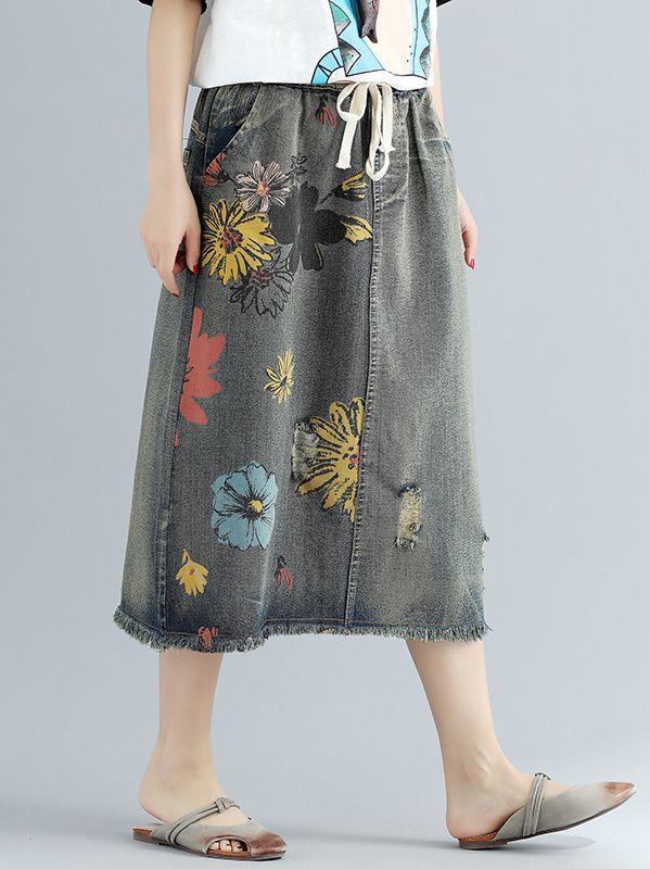 Jupe jean imprimée gris noir boho bohème chic  SKIRT0152