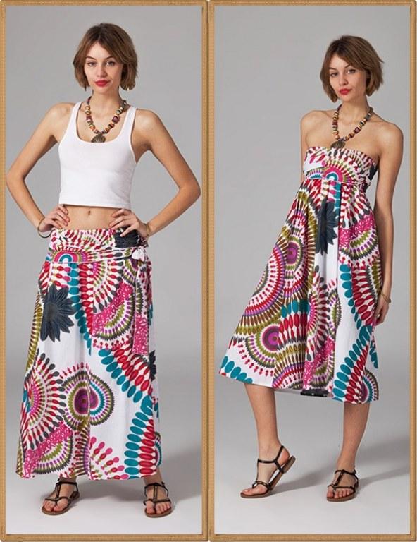 Jupe robe imprimée coton boho boheme chic SKIRT0125