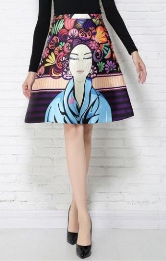 Jupe imprimée Geisha marque boho boheme chic skirt0089