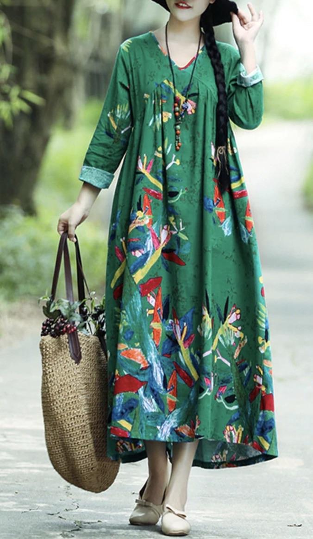 Robe ample mi longue coton imprimé boho bohème chic DRESSL1573