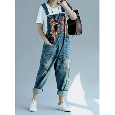 Combinaison jeans imprimée fleurs ample boho bohème chic JEANS0219