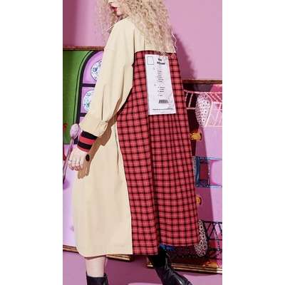 Trench ample dos plaid boho boheme chic COAT0256