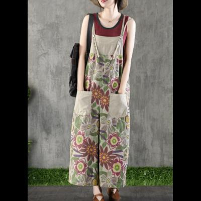 Combinaison coton imprimée fleurs ample boho bohème chic JEANS0233