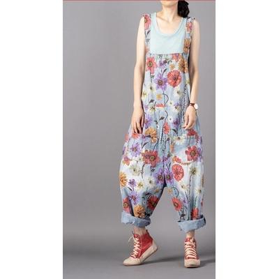 Combinaison jean fleurs ample boho bohème chic JEANS0232